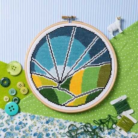 'Rolling Fields' Cross Stitch Kit by Hawthorn Handmade - The Village Haberdashery