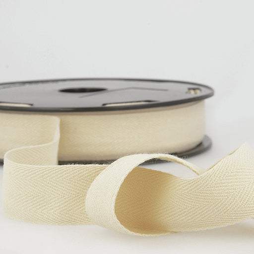 Twill Herringbone Tape - Ivory - 30mm - The Village Haberdashery