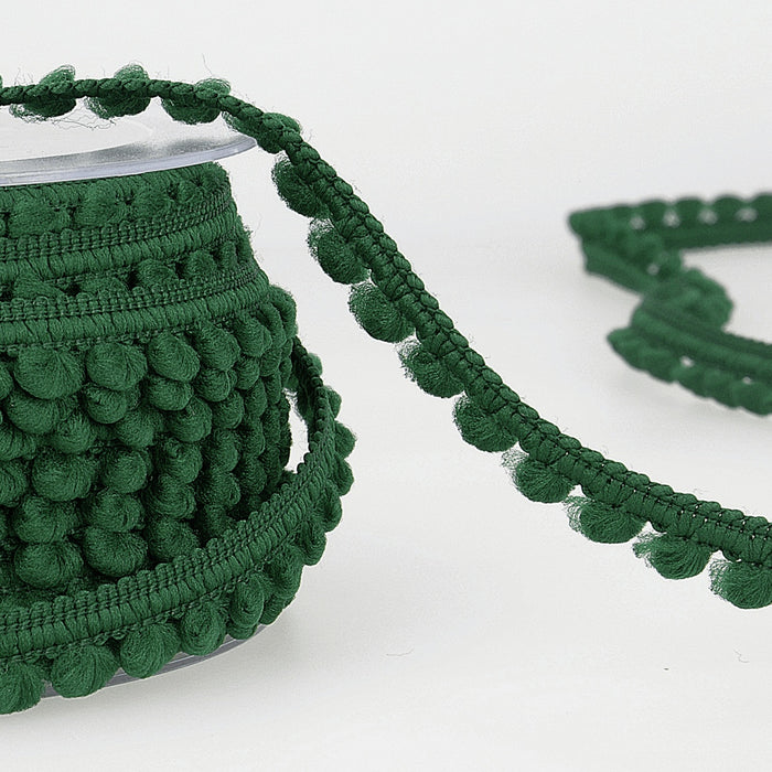 Mini Pom Pom Trim - Emerald - 6mm - The Village Haberdashery