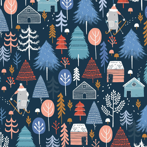 Midnight Winter Escape Cotton from Snow Much Fun by Sarah Knight - The Village Haberdashery