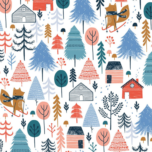 White Winter Escape Cotton from Snow Much Fun by Sarah Knight - The Village Haberdashery