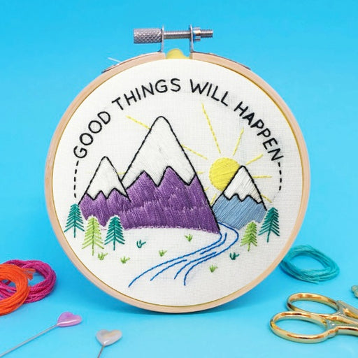The Make Arcade - 'Good Things Will Happen' Mini Embroidery Kit - The Village Haberdashery