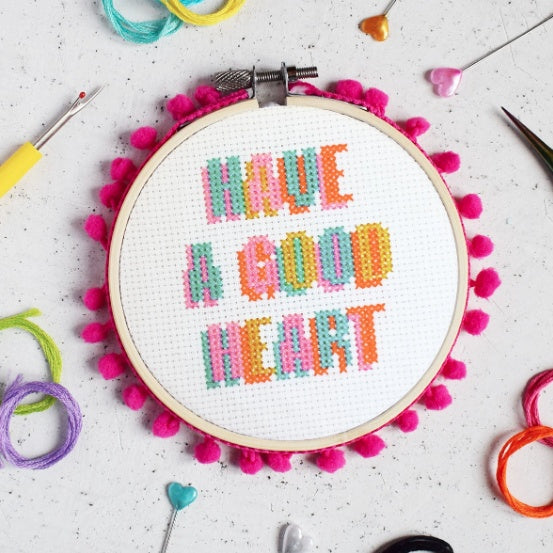 The Make Arcade Cross Stitch Kit - 'Have a Good Heart' - The Village Haberdashery