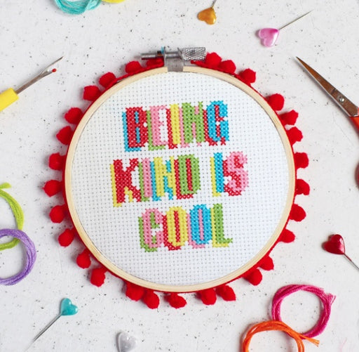 The Make Arcade Cross Stitch Kit - Being Kind is Cool - The Village Haberdashery