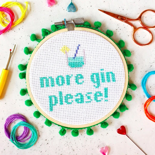 The Make Arcade Cross Stitch Kit - More Gin Please! - The Village Haberdashery