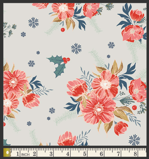 Frosted Roses Cotton from Cozy & Joyful by Maureen Cracknell - The Village Haberdashery