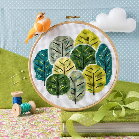 'Summer Trees' Cross Stitch Kit by Hawthorn Handmade - The Village Haberdashery