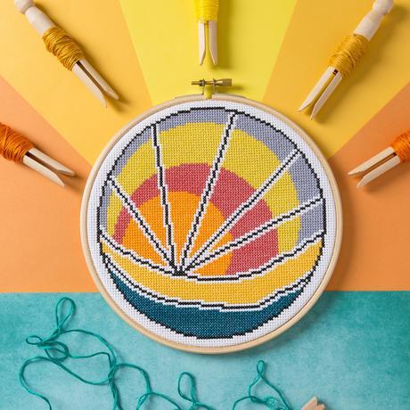 'Sunset Beach' Cross Stitch Kit by Hawthorn Handmade - The Village Haberdashery