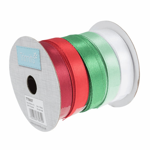 Christmas Satin Ribbon Bundle - 5 Colours - 10mm - The Village Haberdashery