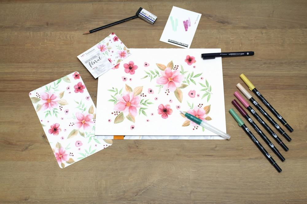 Watercoloring Set - Floral - The Village Haberdashery