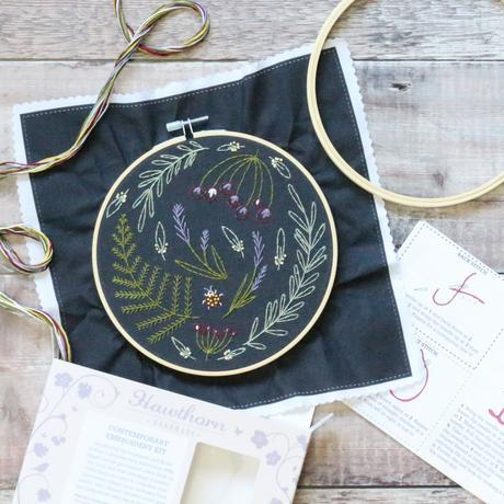 Black Wildwood Embroidery Kit by Hawthorn Handmade - The Village Haberdashery