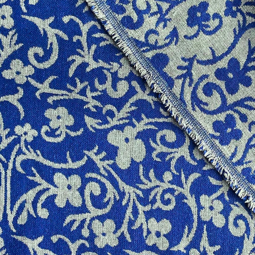 Fabric - Reversible Wool Blend Jacquard - Country Charm In Blue & White