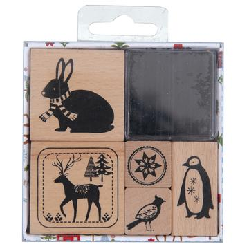 Stamp and Ink Set - Winter Forest Animals - The Village Haberdashery