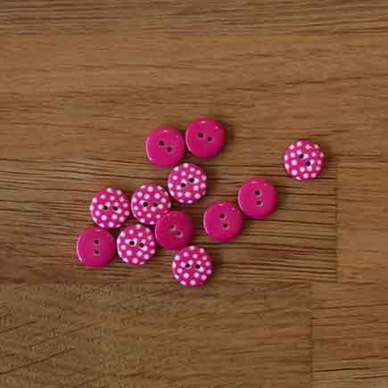 Little Spotty Buttons - Hot Pink, 13mm - The Village Haberdashery