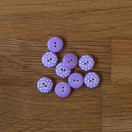 Little Spotty Buttons - Lilac, 13mm - The Village Haberdashery