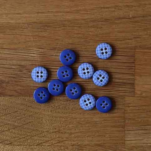 Blue Gingham Buttons - 12mm - The Village Haberdashery