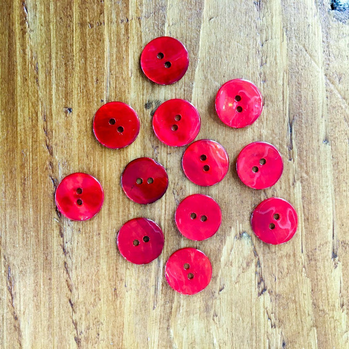 Red Agoya Shell Buttons - 15mm - The Village Haberdashery