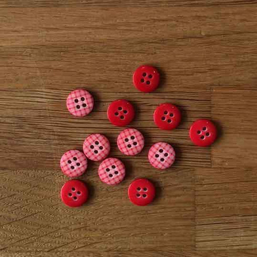 Red Gingham Buttons - 12mm - The Village Haberdashery