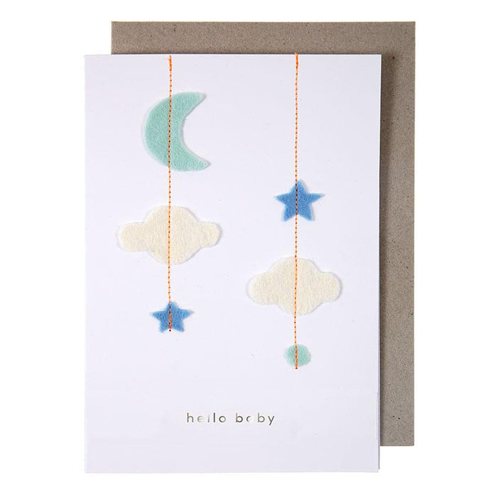 'Stitched Baby Mobile' New Baby Card by Meri Meri - The Village Haberdashery