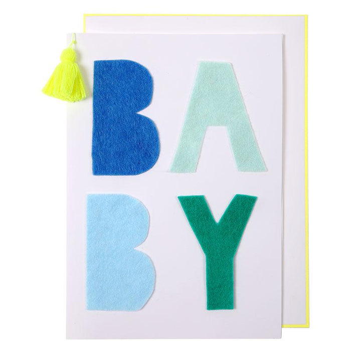 'Blue Felt Baby' New Baby Card by Meri Meri - The Village Haberdashery