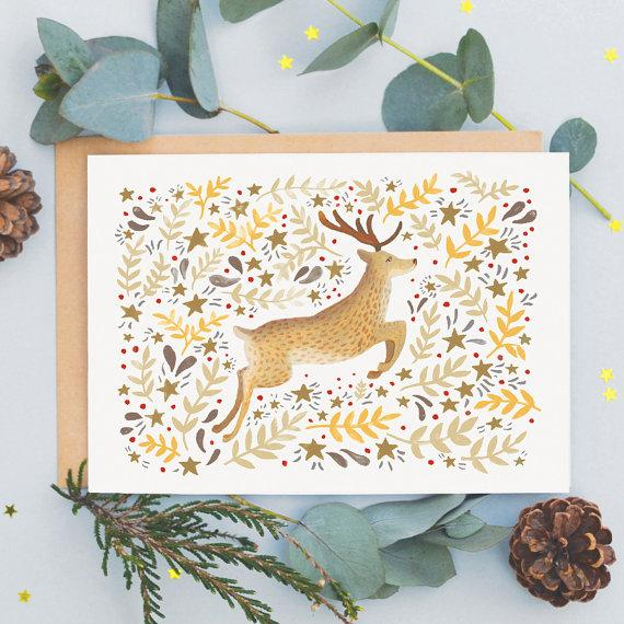 Reindeer Christmas Cards.Reindeer Christmas Card By Jade Fisher