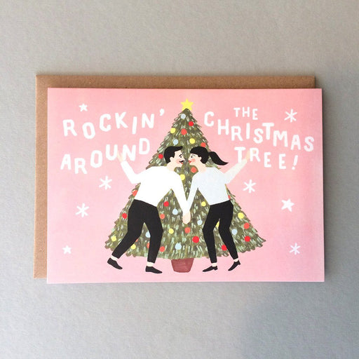 'Rockin' Around The Christmas Tree' Christmas Card by Jade Fisher - The Village Haberdashery
