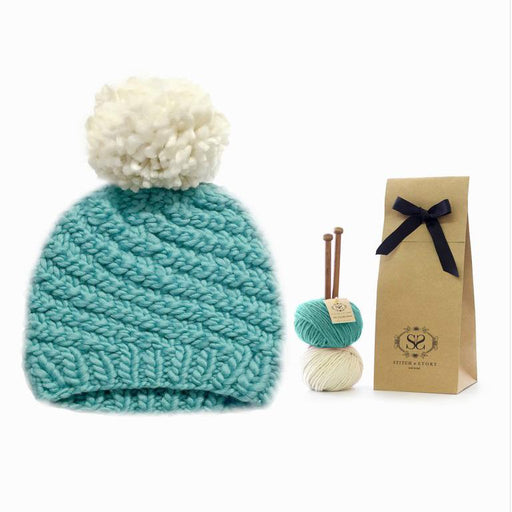 Stitch & Story Knit Kit: Luca Pom Hat in Teal and Ivory - The Village Haberdashery