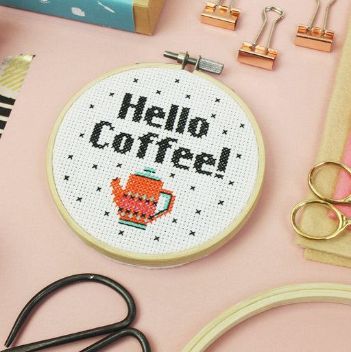 Cross Stitch Kit - Hello Coffee! - The Village Haberdashery