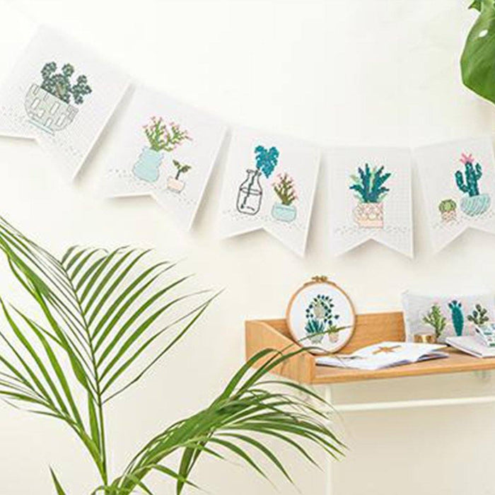 Embroidery Pennant Kit - Cacti - The Village Haberdashery