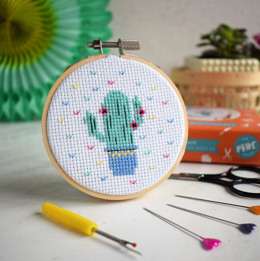 Mini Cross Stitch Kit - Cactus - The Village Haberdashery