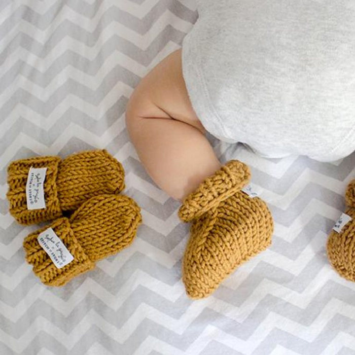 Stitch & Story Sophie La Girafe Knit Kit: Mini Mitts & Booties in Tan - The Village Haberdashery