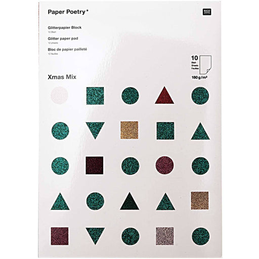 Glitter Paper Pad - Christmas Mix - The Village Haberdashery