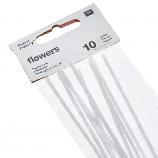Paper Covered Floral Wire - White - The Village Haberdashery