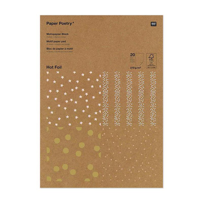 Paper Pad - Kraft Paper with Metallic Hot Foil - Dots Mix - The Village Haberdashery