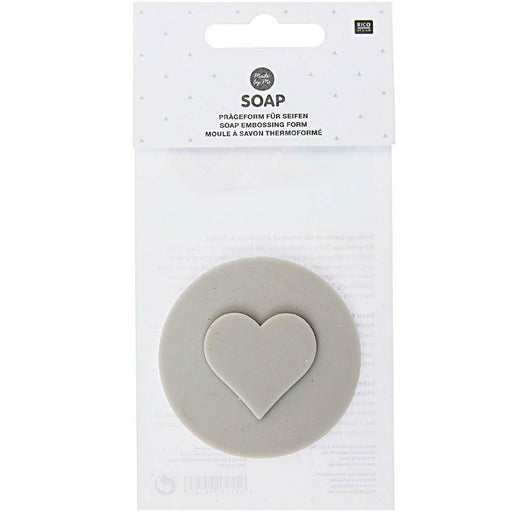 Silicone Soap Embossing Stamp - Round - Heart - The Village Haberdashery