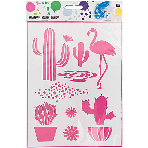 Stencil - Cacti and Flamingo - The Village Haberdashery
