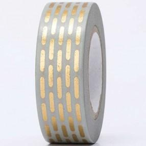 Washi Tape - Hot Foil Gold Dashes on Grey - The Village Haberdashery