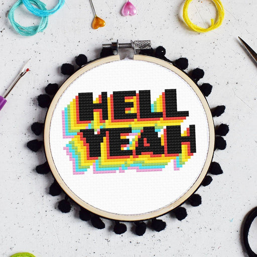 The Make Arcade Cross Stitch Kit - Hell Yeah - The Village Haberdashery