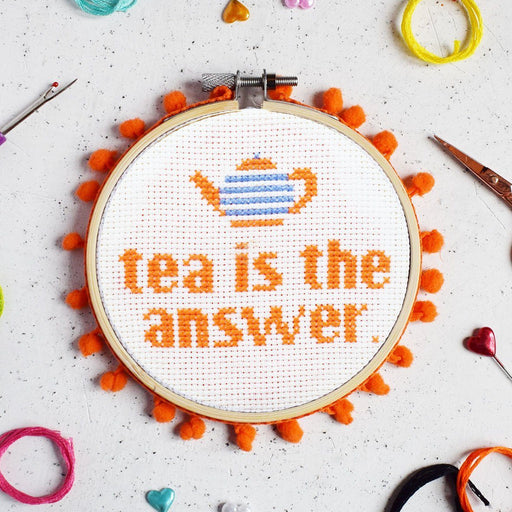 The Make Arcade Cross Stitch Kit - Tea is the Answer - The Village Haberdashery