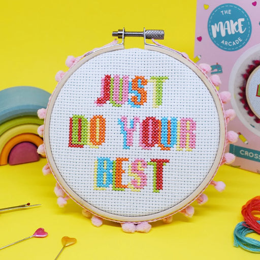 The Make Arcade Cross Stitch Kit - Just Do Your Best - The Village Haberdashery