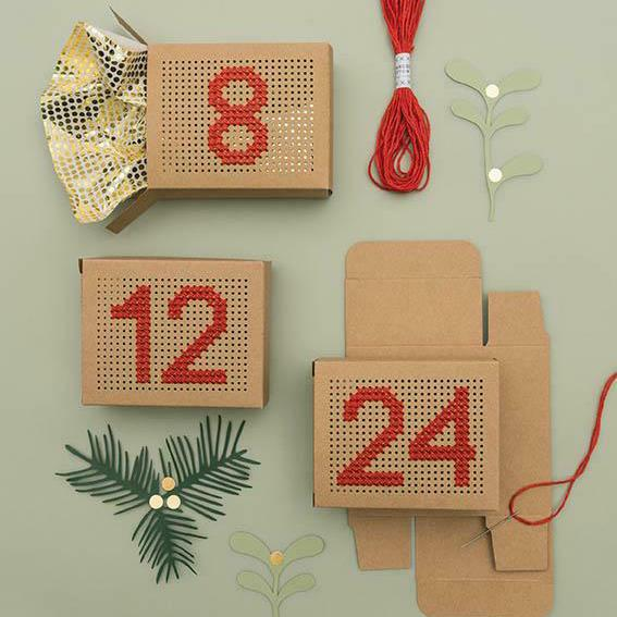 Embroidery Advent Calendar Gift Boxes - Kraft - The Village Haberdashery