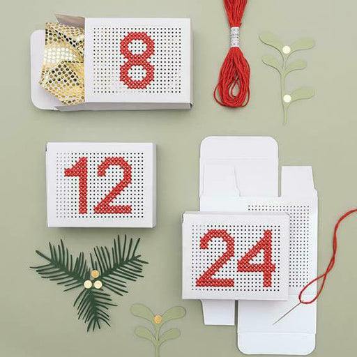 Embroidery Advent Calendar Gift Boxes - White - The Village Haberdashery
