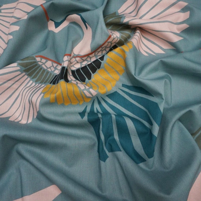 Cotton Lawn - Marabou Mosaic in Teal - The Village Haberdashery