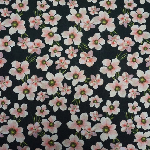 Viscose - Floral Chain in Pink - The Village Haberdashery