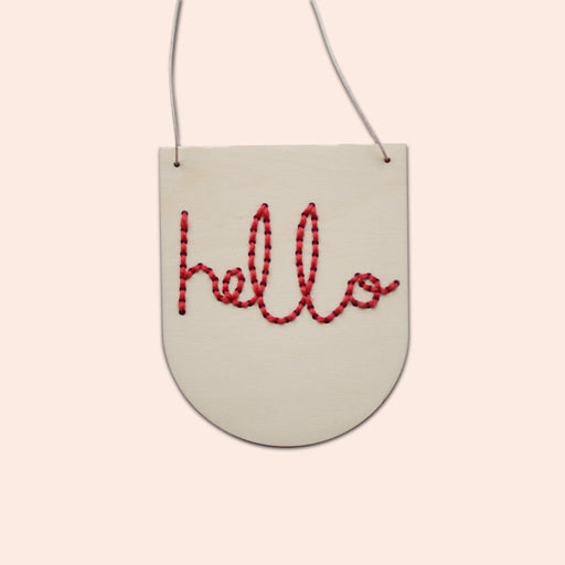 'Hello' - Mini Embroidery Board Kit in Red by Cotton Clara - The Village Haberdashery