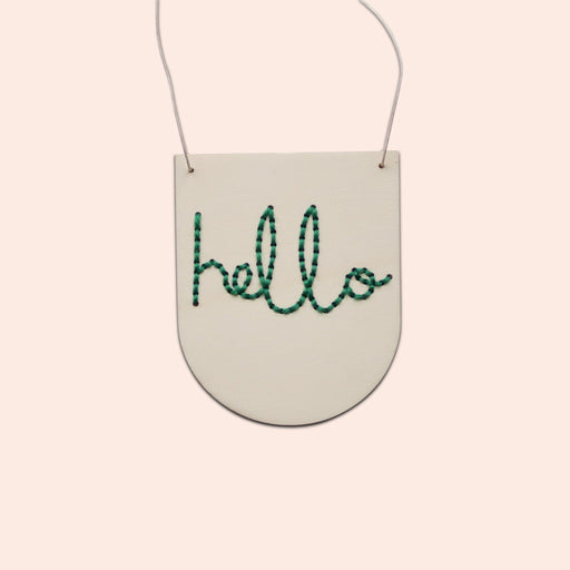 'Hello' - Mini Embroidery Board Kit in Green by Cotton Clara - The Village Haberdashery