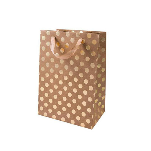 Gift Bag - Kraft with Gold Dots, Small - The Village Haberdashery