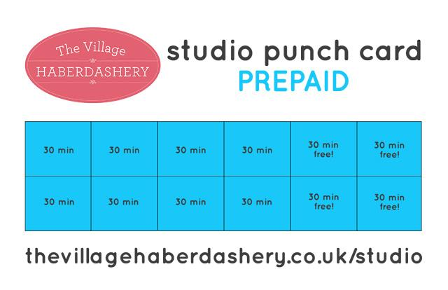 Prepaid Studio Punch Card - The Village Haberdashery