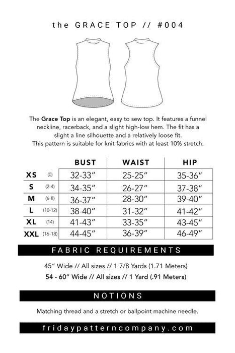 Friday Pattern Company - Grace Top - The Village Haberdashery