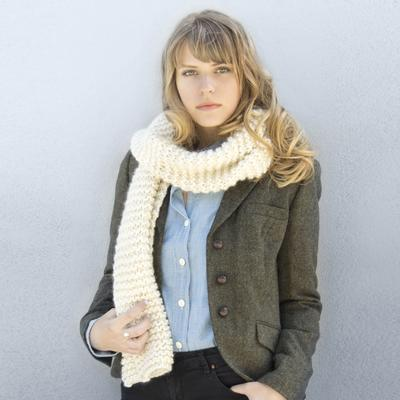 Ecru Ivory Grazier Beginners' Scarf Knit Kit by Stitch & Story - The Village Haberdashery